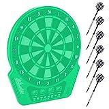 Elektronische Dartscheibe, Dart Scheibe E Dartboards Dartautomat mit 6 Dartpfeile, Ersatzsspitzen, 27 Spielen und 243 Varianten für 16 Spieler (Grün)