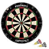 Dartscheibe Leightning 7 – Turniermaße: 451 mm Durchmesser, 38 mm Dicke – A-Klasse Sisal Bristle Round Wire Dartboard – Plus: Darts, Regelheft & Montagesatz